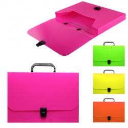 Папка-портфель 1отд 0,8мм 35мм Erich Krause Glance Neon 43058/47252 ассорти