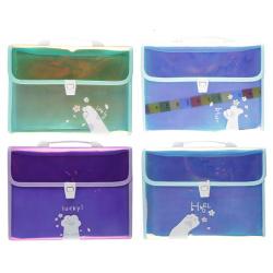 Папка-портфель А4, ПВХ, ассорти 4 вида, цвет ассорти Лапка 205519 CHEN YU