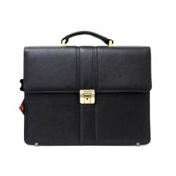 Портфель натуральная кожа, 290*370*120мм, цвет черный, на замке с ключом Grand 01-056-0713