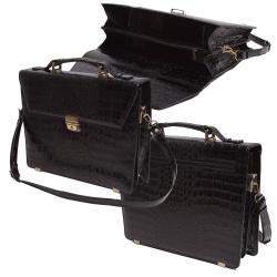 Портфель кожаный 2 отделения 28*35*9 Grand 01-032-3213 черный