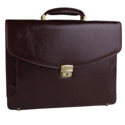 Портфель кожаный 2 отделения 28*39*12 Grand 01-064-0823 коричневый