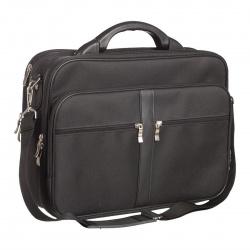 Сумка-портфель тканевая каркасная 2 отделения 28*38*17 Алекс 986 черная