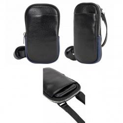 Сумка-планшет мужская кожаная 1 отделение 10*18*3 Fabula S.511.KN черный/синий