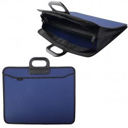 Папка-портфолио А3, 380*470*120мм, пластик, на молнии, 2 отделения, 1 внешний, 2 внутренних., ручки, цвет синий inФОРМАТ PR3-ZO4-B