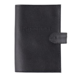 Обложка для паспорта натуральная кожа, хлястик на кнопке, цвет черный KLERK Basic 213943