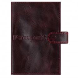 Обложка для паспорта натуральная кожа, хлястик на кнопке, цвет бордо KLERK Basic 213945