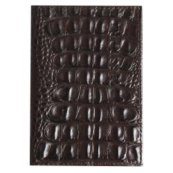 Обложка для паспорта натуральная кожа, цвет горький шоколад KLERK Alligator 213947