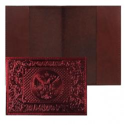 Обложка для паспорта кожа Имидж Россия-Паспорт-Герб тиснение блинтовое отстрочка 1,15м-243 металлик бордовая
