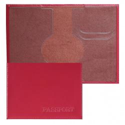 Обложка для паспорта кожа Имидж Passport Шик тиснение конгрев отстрочка 1,01гр-PSP ШИК-227 алый