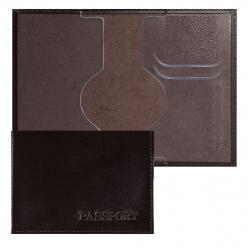 Обложка для паспорта кожа Имидж Passport Шик тиснение конгрев отстрочка 1,01гр-PSP ШИК-220 коричневый