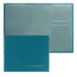 Обложка для паспорта кожа Имидж Passport Шик тиснение конгрев отстрочка 1,01гр-PSP ШИК-231 бирюза