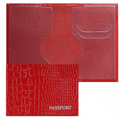 Обложка для паспорта кожа Имидж Passport Крокодил голография отстрочка 1,01гр-КРОКОДИЛ-201 красный
