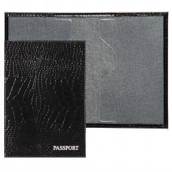 Обложка для паспорта кожа Имидж Passport Крокодил голография отстрочка 1,01гр-КРОКОДИЛ-211 черный