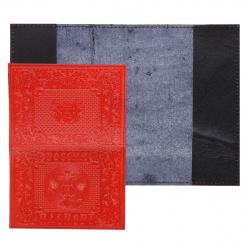 Обложка для паспорта кожа Имидж Россия-паспорт Герб тиснение отстрочка 1,60г-201 красная