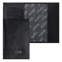 Обложка для паспорта кожа Domenico Morelli Бруклин с отделом д/карт тиснение отстрочка DM-PS02-FK01 черная