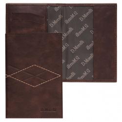 Обложка для паспорта натуральная кожа, цвет коричневый Domenico Morelli Бонд DM-PS02-K022