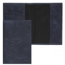 Обложка для паспорта натуральная кожа, цвет синий Domenico Morelli Бонд DM-PS02-K038