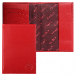 Обложка для паспорта кожа Domenico Morelli  Red-3 с отделом д/карт тиснение отстрочка DM-PS02-K07-T красная