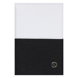 Обложка для паспорта натуральная кожа, цвет черный/белый Domenico Morelli Бруклин DM-PS02-FK110