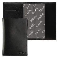 Обложка для паспорта натуральная кожа, цвет черный Domenico Morelli Black DM-PS02-K001