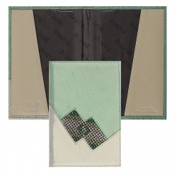 Обложка для паспорта кожа Domenico Morelli Римини тиснение кристаллы SW-PS04-ZL403-24 зеленая