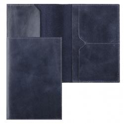 Обложка для паспорта натуральная кожа, цвет синий Grand 02-004-0563