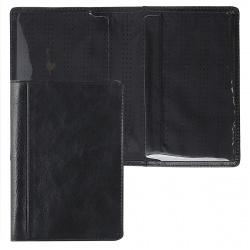 Обложка для паспорта натуральная кожа, цвет черный Grand 02-002-0513