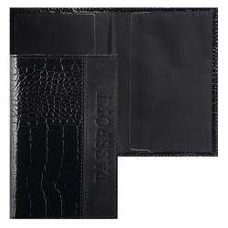 Обложка для паспорта кожа Faetano Геккон тиснение лакирование отстрочка FT-PS11-KR01 черная