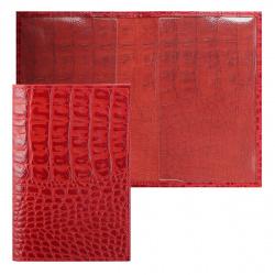 Обложка для паспорта кожа Faetano Croco лак отстрочка FT-PS01-KR07 красная