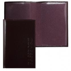 Обложка для паспорта кожа Faetano лак тиснение отстрочка FT-PS01-B56 бордовая