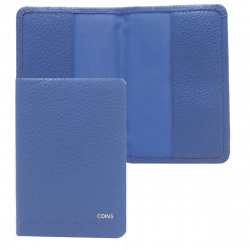 Обложка для паспорта натуральная кожа, цвет синий Coins HANZ OP03-Fl0055