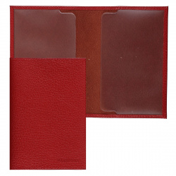 Обложка для паспорта кожа Befler Baku тиснение O.1.BK. красная