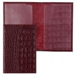 Обложка для паспорта кожа Befler Кайман тиснение O.1.KM. бордовая