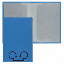 Обложка для паспорта натуральная кожа, цвет голубой Fabula Fabula Микки O.30.AL