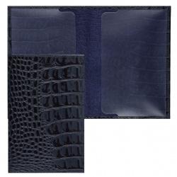Обложка для паспорта кожа Befler Кайман тиснение O.1.KM. синяя