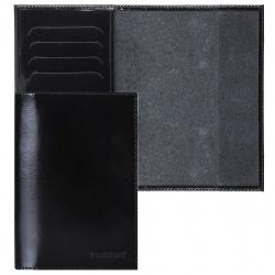 Обложка для паспорта кожа Befler тиснение с отделом д/карт O.23.-1./O.23.SH. черная