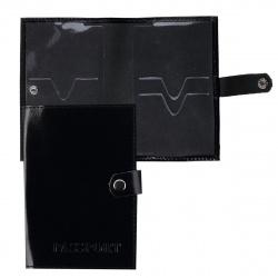 Обложка для паспорта натуральная кожа, 1 отделение для карт, на кнопке, цвет черный Attomex 1030610