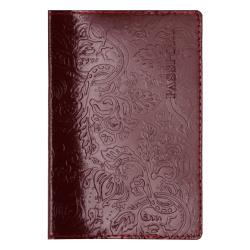 Обложка для паспорта натуральная кожа, 1 отделение для карт, цвет бордовый Attomex 1030607
