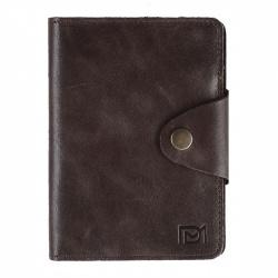 Обложка для автодокументов кожа Domenico Morelli Титан 10*13 с отд д/паспорта карт на кнопке DM-ODO08-K024-R коричневая