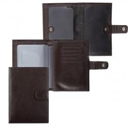 Обложка для автодокументов кожа Fabula Largo 10*14 с отделом д/паспорта и карт тиснение BV.8.LG коричневая