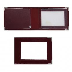 Обложка для удостоверения натуральная кожа, 80*105мм, металлические уголки обложки, отстрочка, тиснение блинтовое, цвет бордовый Имидж Шик