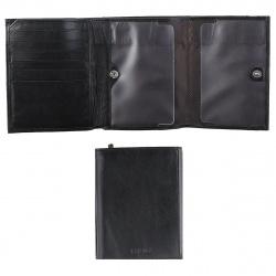 Портмоне мужское кожа 11*13 Fabula с отделом для паспорта тиснение PM.74.MN черное