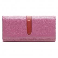 Портмоне женское кожа 9*18 Coins POLETTA отстрочка на кнопке P031-FK2102 розовое