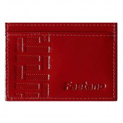 Кардхолдер кожаный 7*10 Faetano Наплак лак тиснение отстрочка FT-KH03-NK07 красный