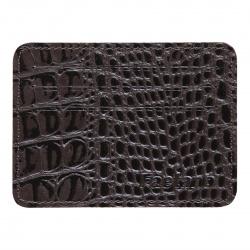 Кардхолдер кожаный 8*10 Faetano Кроко лакирование отстрочка FT-KH14-KR02 коричневый