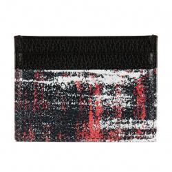 Картхолдер натуральная кожа, 75*100мм, цвет черный/красный Арт Domenico Morelli DM-KH11-F107-6
