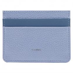 Кардхолдер кожаный 7*10 Coins FRANCHESCA отстрочка KR02-FK5751 голубой