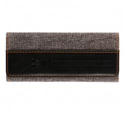 Ключница для мужчин, натуральная кожа, ткань, 60*140мм, на кнопках, цвет серый/черный Джинс Мистраль MT-KL44-JK31