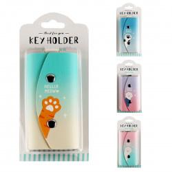 Ключница женская к/з 5*10 PRESIDENTZT Meow 207237 КОКОС на кнопках ассорти 4 вида