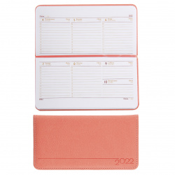 Еженедельник (планинг) датированный 2022г, 90*170мм, 64л, розовый Наппа Escalada 57047